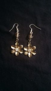 Grey Glass and Bronze Flower Earrings $10.50
