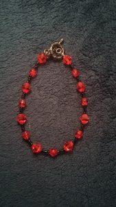 Red and Black Glass Bracelet $8.75