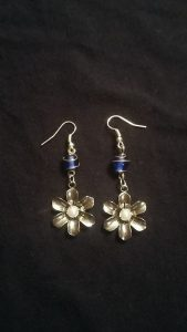 Blue Glass and Silver Flower Earrings $10.50
